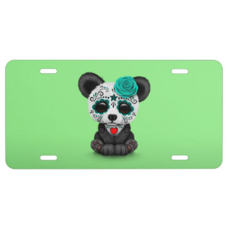 Blue Day of the Dead Sugar Skull Panda on Green License Plate