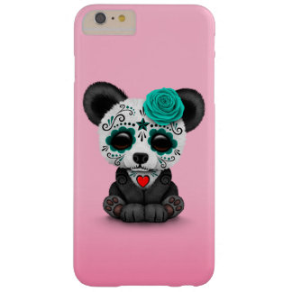 Blue Day of the Dead Sugar Skull Panda on Pink Barely There iPhone 6 Plus Case