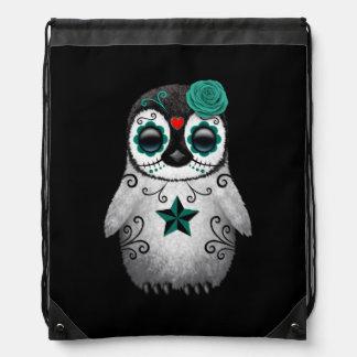 Blue Day of the Dead Sugar Skull Penguin Black Drawstring Backpack