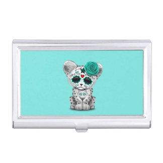 Blue Day of the Dead Sugar Skull Snow Leopard Cub Business Card Case
