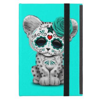Blue Day of the Dead Sugar Skull Snow Leopard Cub Case For iPad Mini