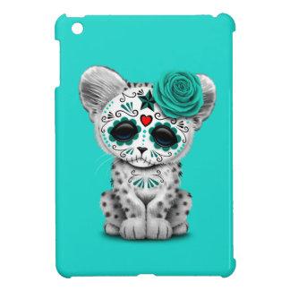 Blue Day of the Dead Sugar Skull Snow Leopard Cub Case For The iPad Mini