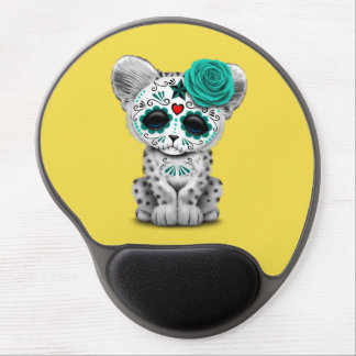 Blue Day of the Dead Sugar Skull Snow Leopard Cub Gel Mouse Pad