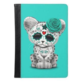 Blue Day of the Dead Sugar Skull Snow Leopard Cub iPad Air Case