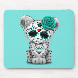 Blue Day of the Dead Sugar Skull Snow Leopard Cub Mouse Pad