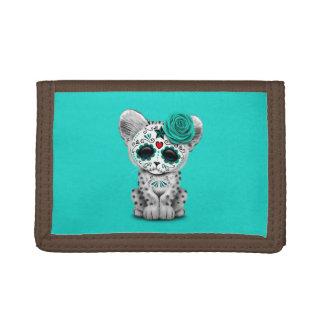 Blue Day of the Dead Sugar Skull Snow Leopard Cub Trifold Wallet