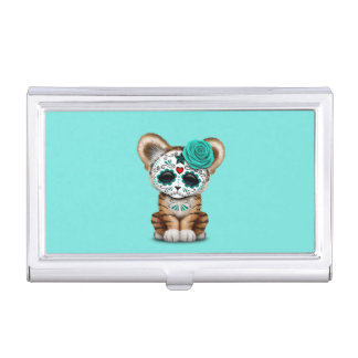 Blue Day of the Dead Sugar Skull Tiger Cub Business Card Case