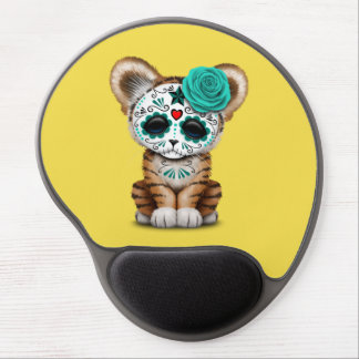 Blue Day of the Dead Sugar Skull Tiger Cub Gel Mouse Pad