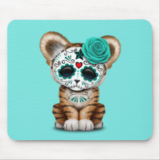 Blue Day of the Dead Sugar Skull Tiger Cub Mouse Pad