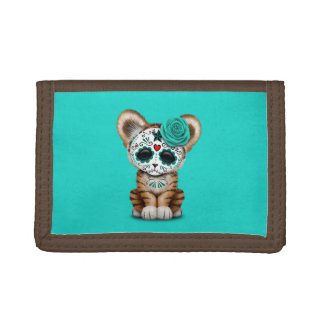 Blue Day of the Dead Sugar Skull Tiger Cub Trifold Wallet