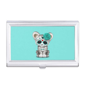 Blue Day of the Dead Sugar Skull White Tiger Cub Business Card Case