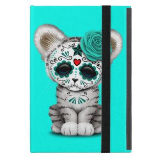 Blue Day of the Dead Sugar Skull White Tiger Cub Case For iPad Mini