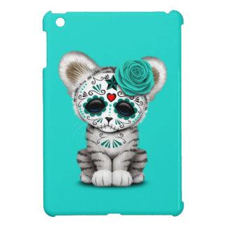 Blue Day of the Dead Sugar Skull White Tiger Cub Case For The iPad Mini