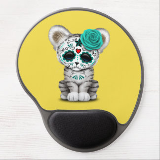 Blue Day of the Dead Sugar Skull White Tiger Cub Gel Mouse Pad