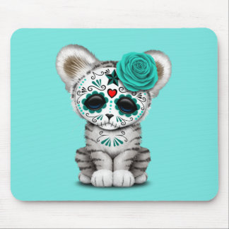 Blue Day of the Dead Sugar Skull White Tiger Cub Mouse Pad