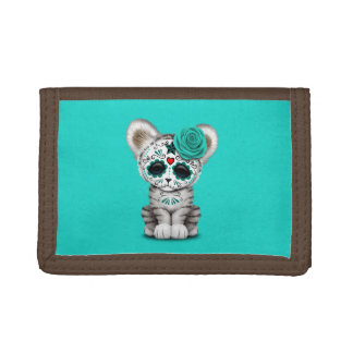 Blue Day of the Dead Sugar Skull White Tiger Cub Trifold Wallet
