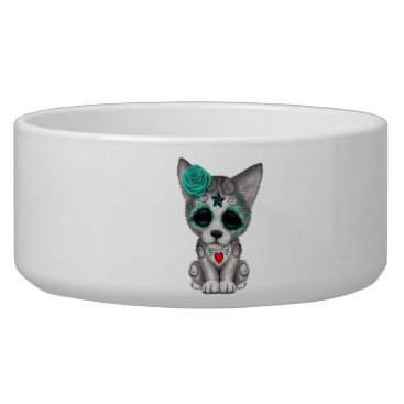 Halloween Themed Blue Day of the Dead Wolf Cub Bowl