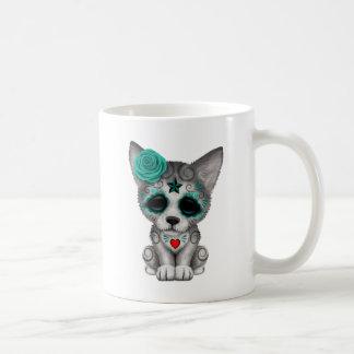 Blue Day of the Dead Wolf Cub Coffee Mug