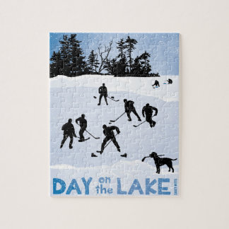 Blue Day on the Lake Pond Hockey Jigsaw Puzzle