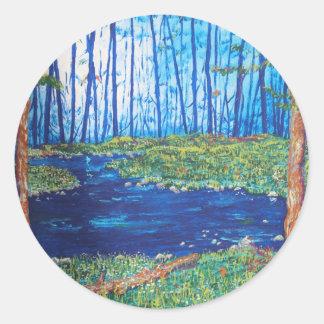 Blue Day Stream Classic Round Sticker