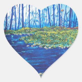 Blue Day Stream Heart Sticker