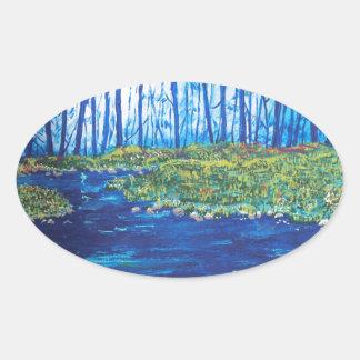 Blue Day Stream Oval Sticker
