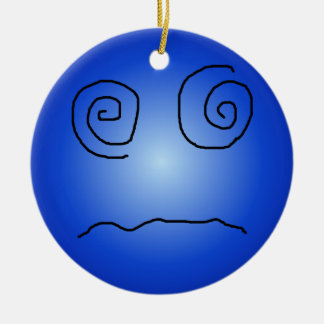 Blue Dazed and Confused Smiley Double-Sided Ceramic Round Christmas Ornament