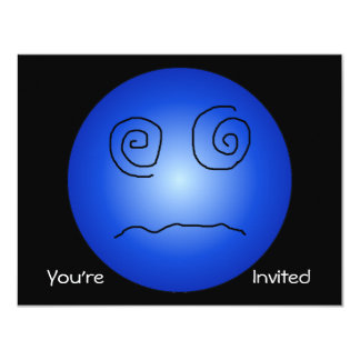 """Blue Dazed and Confused Smiley 4.25"""" X 5.5"""" Invitation Card"""