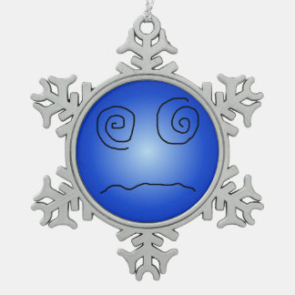 Blue Dazed and Confused Smiley Ornaments
