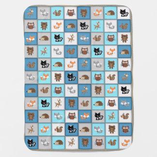 *Blue de Quiltlike de los animales del bebé del Mantitas Para Bebé