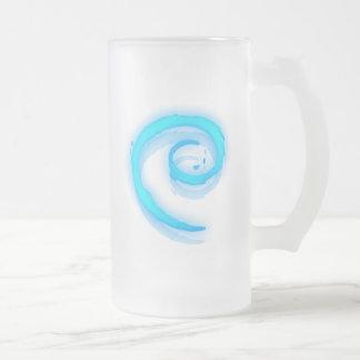 Blue Debian Swirl Frosted Glass Beer Mug