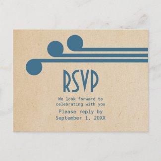 Blue Deco Chic RSVP Postcard
