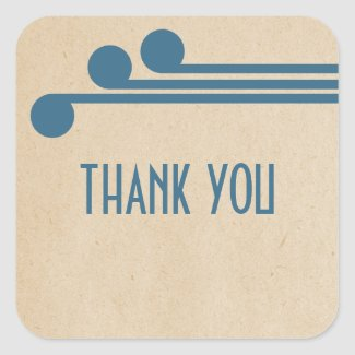 Blue Deco Chic Thank You Stickers