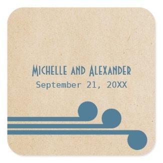 Blue Deco Chic Wedding Stickers