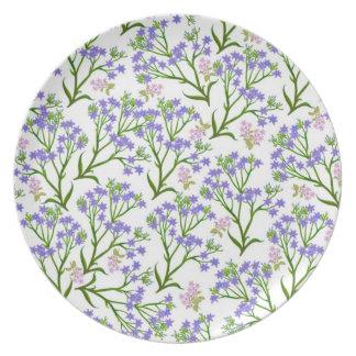Blue Deco Floral Garden Plate
