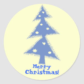 blue decorated christmas tree classic round sticker