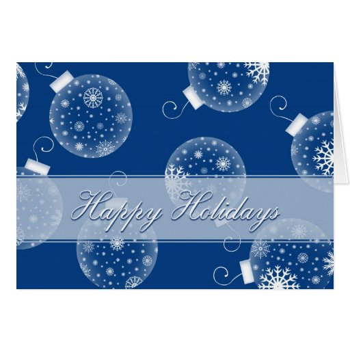 Blue Decorations Happy Holidays Christmas Card