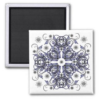 blue decorative floral pattern magnets