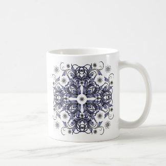 blue decorative floral pattern mugs