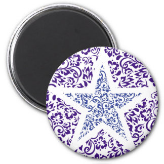 blue decorative floral star refrigerator magnets
