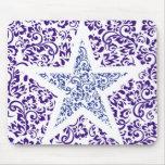 blue decorative floral star mouse mat
