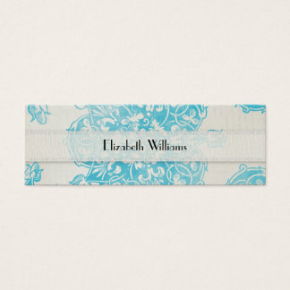 Blue Decorative French Mini Business Card