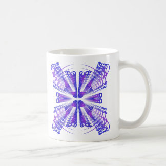 Blue Decorative Patterns: Vector Drawing Coffee Mug