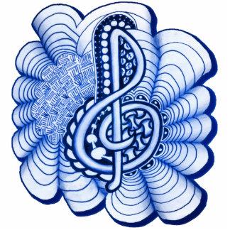 Blue Decorative Treble Clef Doodle Statuette