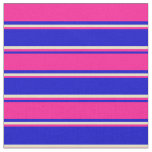 [ Thumbnail: Blue, Deep Pink, and Pale Goldenrod Colored Lines Fabric ]