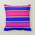 [ Thumbnail: Blue, Deep Pink, and Pale Goldenrod Colored Lines Throw Pillow ]