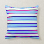 [ Thumbnail: Blue, Deep Pink, Light Sky Blue, Mint Cream, Black Throw Pillow ]