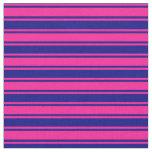 [ Thumbnail: Blue & Deep Pink Stripes/Lines Pattern Fabric ]