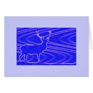 Blue Deer Greeting Card