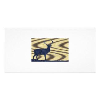 Blue Deer in walnut Photo Card